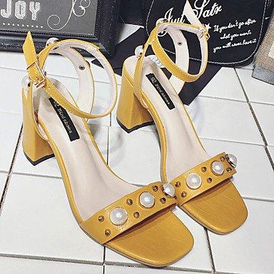 LvYuan Mujer Sandalias Zapatos del club PU Primavera Verano Vestido Zapatos del club Perla de Imitación Tacón Robusto Negro Amarillo Caqui5 - 7 Black