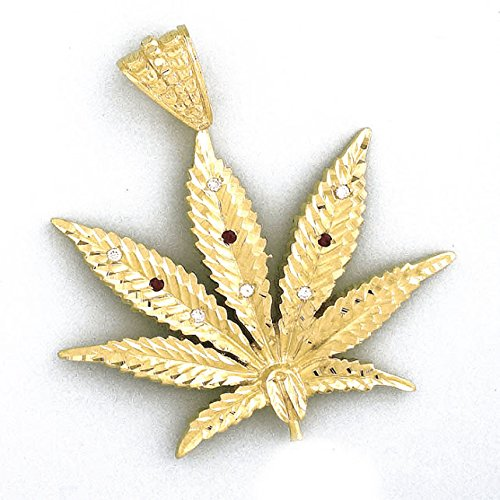 LIOR - Pendentif Or jaune 750/1000 (18kt) Feuille de Marijuana