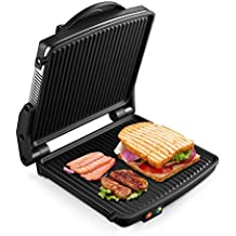 """Kealive Panini Maker, Panini Press Grill 1200W, Electric Smokeless Indoor Grill, Gourmet Sandwich Maker with Double Coated 180"""" Cooking Non Stick Surface, Black/Silver"""