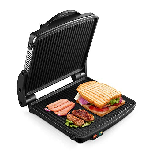 "Kealive Panini Maker, Panini Press Grill 1200W, Electric Smokeless Indoor Grill, Gourmet Sandwich Maker with Double Coated 180"" Cooking Non Stick Surface, Black/Silver"