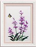 Ribbon embroidery Kit Handmade flower design for beginner DIY Wall Decor lavender (No frame)