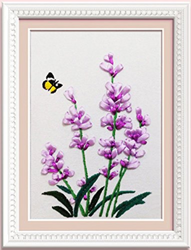 Ribbon embroidery Kit Handmade flower design for beginner DIY Wall Decor lavender (No frame)