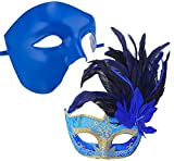 Coxeer Couple Masquerade Masks Blue Venetian Halloween Mask Mardi Gras Masks