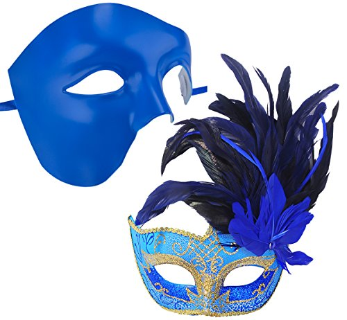 coxeer couple masquerade masks blue venetian halloween mask mardi gras masks buy online in uae apparel products in the uae see prices