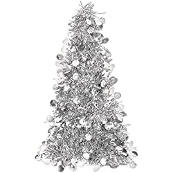 "Amscan Christmas Centerpiece Large Tree, 18"", Tinsel, Silver"