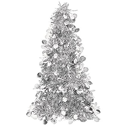 Amazon.com: Silver Tinsel Christmas Tree Table Centerpiece   Party ...
