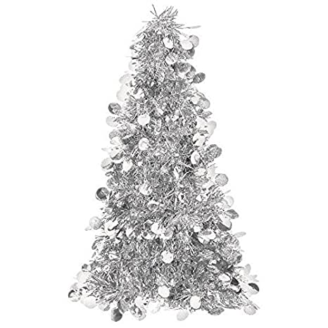 Gray Christmas Tree.Silver Tinsel Christmas Tree Table Centerpiece Party Decoration
