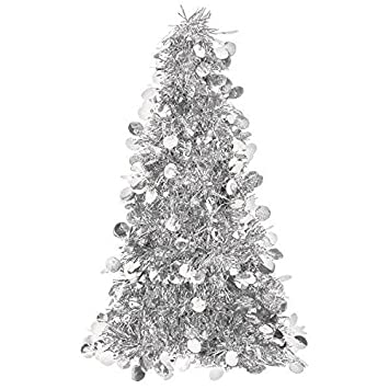 Small Silver Christmas Tree.Amscan Christmas Centerpiece Small Tree 10 Tinsel Silver