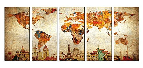 NAN Wind Xlarge Stretched and Framed Ready to Hang 5 Panels 30x14 World Map Artwork Canvas Print Original Wonders of the World Map Old Paper Map Vintage Wall Decor Home Interior Artwork (Wall Map Old compare prices)