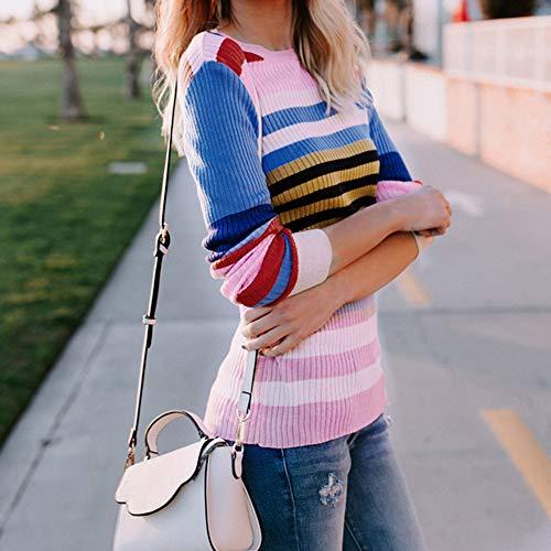 Shirt Arc Pull Casual en Tricot Mode T Ciel Multicolore Chic Femme SANFASHION Couleur Sweater en UnZ5xpZv