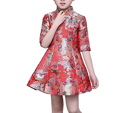 Girls Middle-Sleeved Children's Dress Costume Princess Dress Chinese Style Improved -