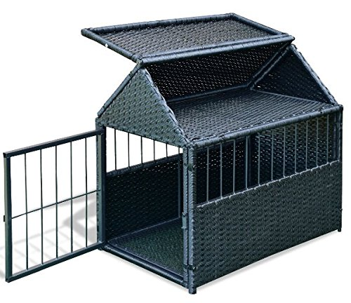 K&A Company House Pet Durable Rattan Dog Cage Kennel Storage Roof Shelter Rest Inclined Yard New Crate Outdoor Animal Backyard by K&A Company (Image #4)