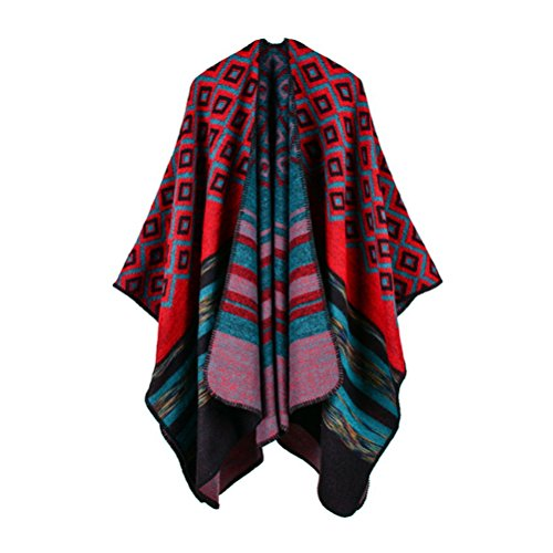 Jelinda Women Blanket Shawl Wrap Open Poncho Cape Winter Large Warm Diamond Scarf (red)