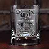 Personalized Whiskey Label, Scotch Bourbon Glasses SINGLE GLASS (wskylabel)