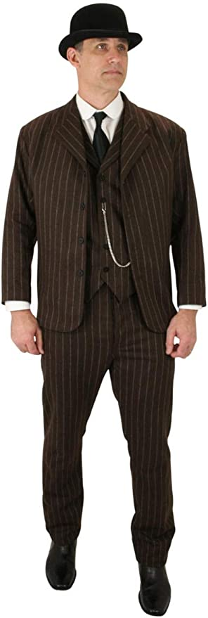 1920s Men's Suits History Pinstripe Sack Coat Historical Emporium Mens Wool Blend Bosworth $167.95 AT vintagedancer.com