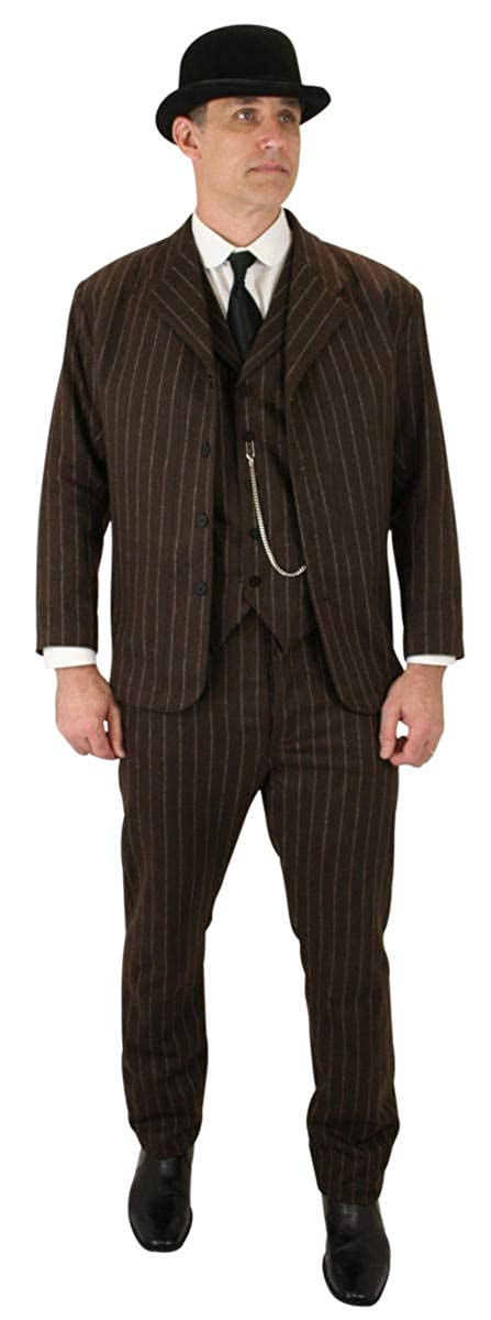 Victorian Mens Suits & Coats Historical Emporium Mens Wool Blend Bosworth Pinstripe Sack Coat $149.95 AT vintagedancer.com