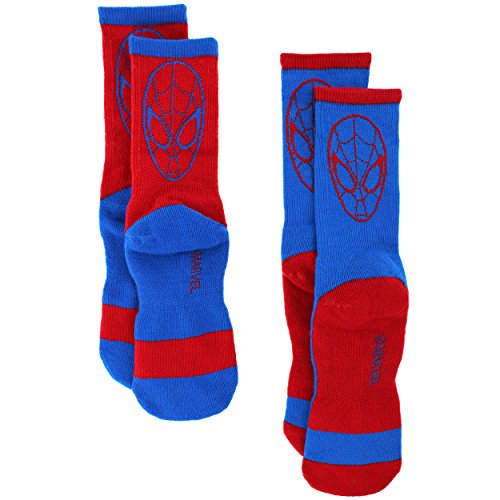 Spider-Man Youth Teen 2 pack Athletic Crew Socks (S/M 6-8 (shoe: 10.5-4), Red/Blue Spidey)