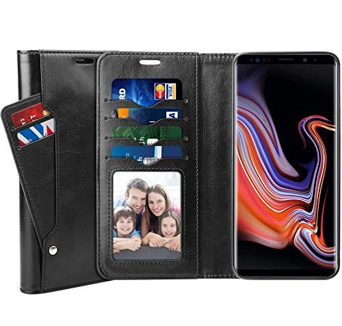 番号非行沿ってSUPTMAX Galaxy Note 9 ケース Samsung Galaxy Note 9 手帳型ケース ギャラクシー Note 9 ケース 高級レザー マグネットデザイン スタンド機能 カード収納可能 耐摩擦 SC-01L SCV40 (Galaxy Note9, ブラック)