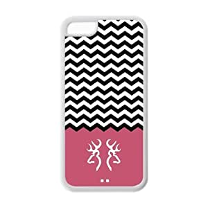 LJF phone case Popular colorful chevron waves with browning buck and doe logo TPU case for iphone 4/4s