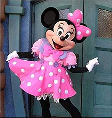 GUFAN Cute Lovely Pink Minnie Mouse Mascot Costume Fancy Dress Adult Size EPE FREE Ship