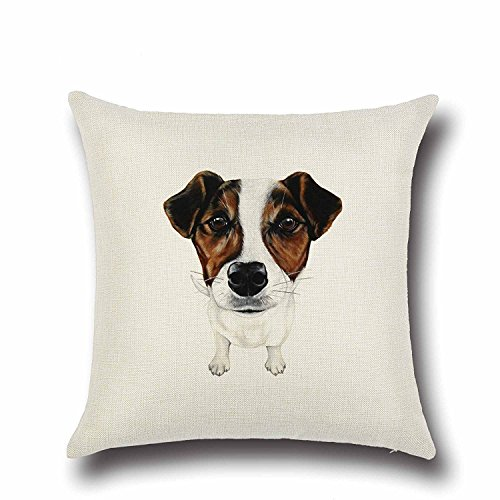Acelive Valentine's Day Gift 16 x 16 Inches Cotton Linen Brown and White Jack Russell Terrier Pattern Durable Cushion Cover Throw Pillowcase Standard Size