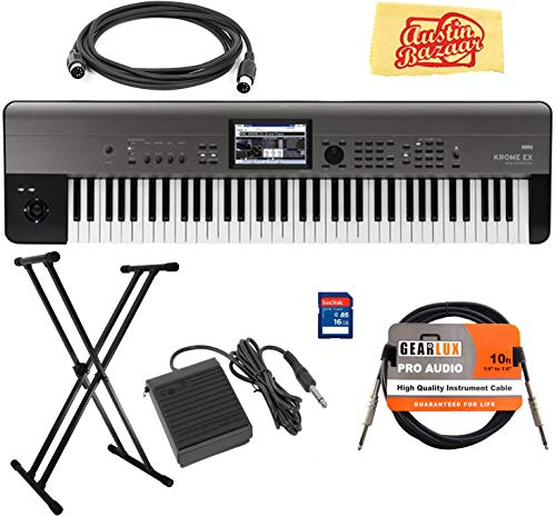 Korg Krome-EX 73-Key Music Workstation Bundle with Adjustable Stand, SD Card, Instrument Cable, Midi Cable, Sustain Pedal, and Austin Bazaar Polishing Cloth