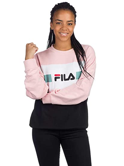 39fa9264302f8 Fila Women Sweatshirt Angela Sweat Crew 2.0, Größe:L, Farbe:Coral  Blush/Bright White/Black/Aquifer: Amazon.it: Abbigliamento