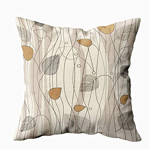 ROOLAYS Decorative Throw Square Pillow Case Cover 20X20Inch,Cotton Cushion Covers Leaves and Trees Pattern on Ivory Background Color Both Sides Printing Invisible Zipper Home Sofa Decor Pillowcase