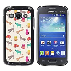 LASTONE PHONE CASE / Carcasa Funda Prima Delgada SLIM Casa Carcasa Funda Case Bandera Cover Armor Shell para Samsung Galaxy Ace 3 GT-S7270 GT-S7275 GT-S7272 / Cool Kittens Cats Teal Pink Pattern Cartoon