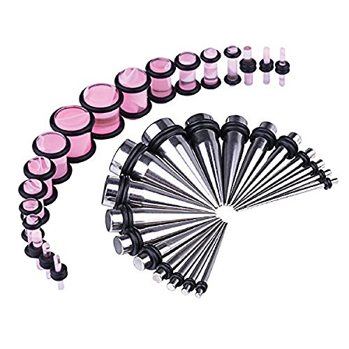 BodyJ4You 36PCS Gauges Kit Stainless Steel Tapers Pink Marble Style Plugs 14G-00G Ear Stretching Set by BodyJ4You