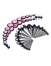 BodyJ4You 36PCS Gauges Kit Stainless Steel Tapers Pink Marble Style Plugs 14G-00G Ear Stretching Set