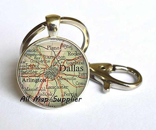 Charming Keychain Dallas map Key Ring, Dallas map Keychain, Dallas Key Ring, Dallas Keychain, map - Highland Arlington