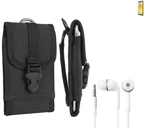 bolsa del cinturón / funda para Wiko View 2, negro + Auriculares   caja del teléfono cubierta protectora bolso - K-S-Trade (TM)