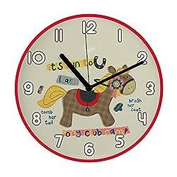 "Mehousa 10"" Silent Pony Horse Non Ticking Wall Clock K   Ultra-Accurate Quartz Clocks Children Nursery/Preschool/ Playroom/Boys & Girls Bedroom"
