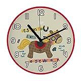 "Mehousa 10"" Silent Pony Horse Non Ticking Wall Clock for K | Ultra-Accurate Quartz Clocks for Children Nursery/Preschool/ Playroom/Boys & Girls Bedroom"