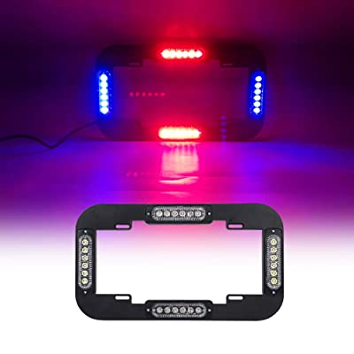 "JXPXYQ 13.5"" License Plate Strobe Light 24 W LED Emergency Traffic Adviser Beacon Warning Flash Strobe Lights (Red/Blue): Industrial & Scientific"