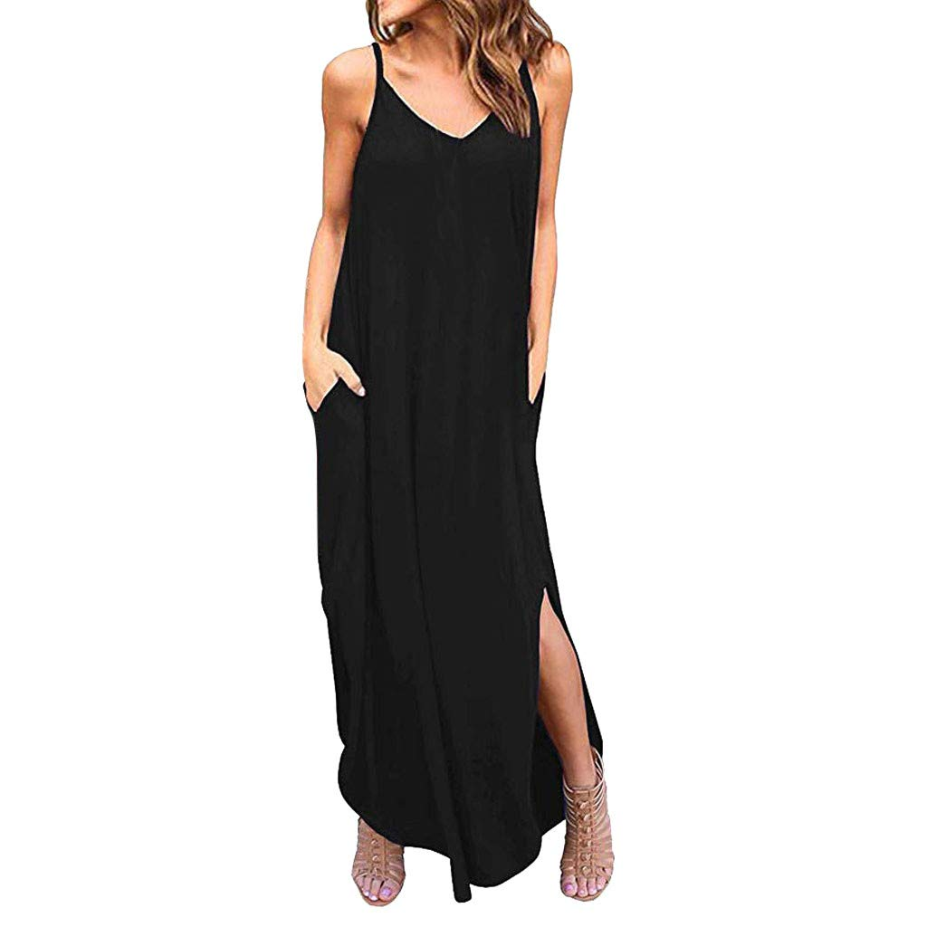 Womens Summer Boho Maxi Dress,Sleeveless Spaghetti Strappy Beach Cami Split Dresses with Pocket Black by Drindf Womens Dress