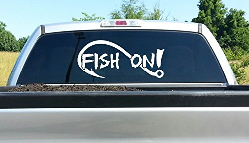 (A1186 Large Fish On Bass Fishing Decal Sticker 26 Inches x 12 Inches)