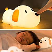 LED Kids Night Light, Cute Puppy Soft Silicone Baby Nursery Lamp-USB Rechargeable, Color Temperature and Brightness…