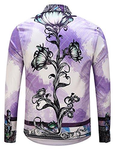 A Stampa Uomo 59 Maniche Barocco Lussuosa Pizoff Camicia Y1792 Elegante Lunghe FEHq11YA