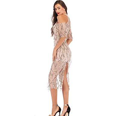 67f039fa03 2019 Women Sexy Halter Backless Cocktail Prom Gown Dress Deep V Neck High  Split Wedding Bridesmaid