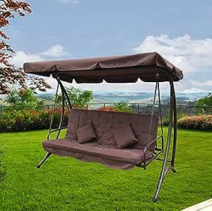 FP-TECH - Balancín de jardín de 3 plazas con techo parasol para sofá, cama, columpio reclinable: Amazon.es: Jardín