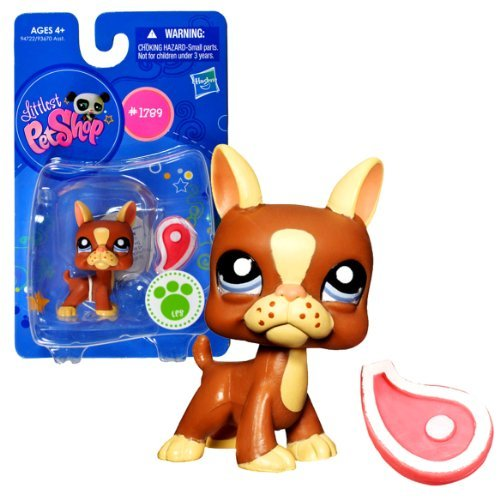 Littlest Pet Shop Hasbro Year 2010 Single Pack Series Bobble Head Pet Figure Set #1789 - Brown Boston Terrier Puppy Dog with Slice of Meat