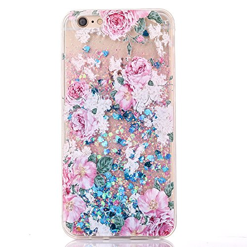 For iPhone 6 and 6S PC Case Series Pattern Creative Design Flowing Liquid Glitter Style Plastic Case With Sparkle Love Heart PC Back Clear TPU Edge Bumper Holidays Special Gifts (Blue-Flower)