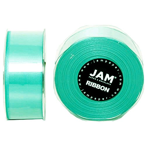 - JAM PAPER Double Faced Satin Ribbon - 1 1/2 Inch Wide x 25 Yards - Teal Blue - Sold Individually
