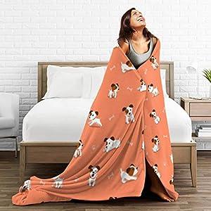 Happybeth Fleece Blanket Cartoon Jack Russell Terrier Print Fiber House Flannel Fleece Throw Blankets Winter Throw Warm for Bed Couch Chair 1