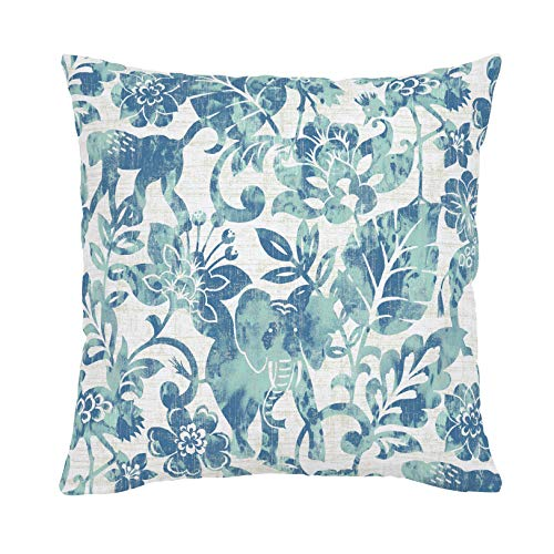 Carousel Designs Denim and Mint Jungle Throw Pillow 18-Inch Square Size - Organic 100% Cotton Throw Pillow Cover + Insert - Made in The USA