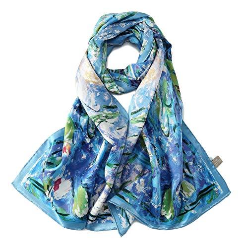 Women's Long Charmeuse Silk Scarf Classic Art Print (BLue - Scarf Silk Floral Long
