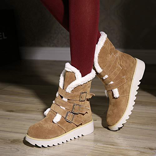 scarpe Brown Con Scarponi Donna Stivaletti Caldo Tonda Scamosciata A Fibbia Femminili Testa Da In Inverno Per Pelle Neve q0YRT