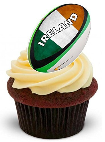 - IRELAND IRISH RUGBY BALL - CELEBRATE THE RUGBY WORLD CUP 2015 - Fun Novelty PREMIUM STAND UP Edible Wafer Paper Cake Toppers Decoration
